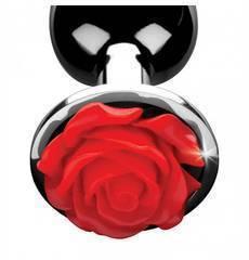 Plug Anal Metálico com Rosa Vermelha