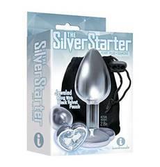 Plug em Metal Silver Starter Coração Transparente