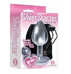 Plug em Metal Silver Starter Coração Rosa
