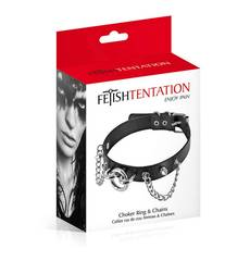 Coleira Chocker Ring And Chains Fetish Tentation