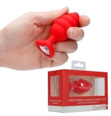 Plug Anal com Cristal Ouch! Large Ribbed Diamond Heart Plug Vermelho
