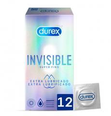 Preservativos Durex Invisible Extra Lubrificados 12 un.